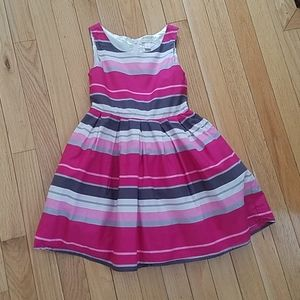 Girls party dress 5 twirl full skirt pink stripe